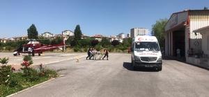 Trafik kazasında yaralanan kadın, ambulans helikopterle şehir merkezine getirildi