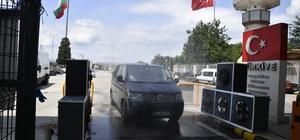 Korona için sınır kapılarına fanlı dezenfektan üniteleri kuruldu Salgına karşı sınır kapılarında hijyen tedbirleri üst düzeye çıkarıldı