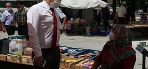 Şaphane pazarında korona virüs tedbirleri