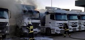 Konya'da park halindeki kamyonda yangın