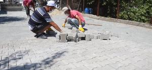 Ergene'de kilit parke taş döşeme çalışmaları sürüyor