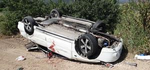 Otomobil, traktöre arkadan çarptı; 1 kişi yaralandı Hem otomobil hem de traktör kazada devrildi