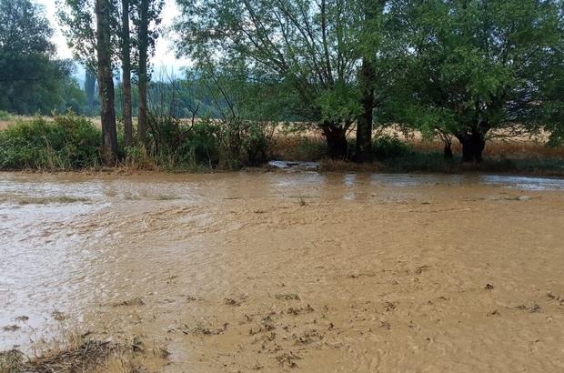 Bir anda yağan yağmur ve dolu ile köyü sel bastı Aniden başlayan yağış 10 eve zarar verirken yaklaşık 70 hektar alanı su bastı