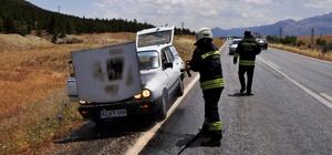 Konya'da seyir halindeki otomobilde yangın