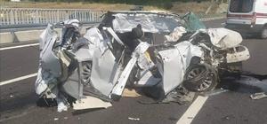 Hurdaya dönen otomobilden sağ kurtuldu İzmir-İstanbul Otoyolu'nda kaza: 1 yaralı