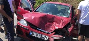 Otomobil kamyonla kafa kafaya çarpıştı: 1 yaralı