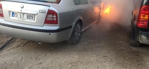 Van'da park halindeki otomobil yandı