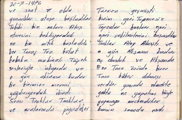 """Kıbrıs şehidinin duygulandıran günlüğü Kıbrıs Şehidi Yusuf Uğur'un 5 gün yazabildiği günlüğü okuyanları duygulandırıyor Lefkoşa'da şehit düşen Yusuf Uğur, Kıbrıs Barış Harekatı'nda not aldığı günlükte yaşadıklarını kaleme aldı Şehit Yusuf Uğur, """"Komandolar paraşütle atladı, sanki gök kartal dolu idi"""" satırlarını kaleme aldı"""