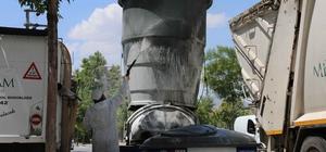 Meram'da çöp konteynerleri sürekli olarak dezenfekte ediliyor