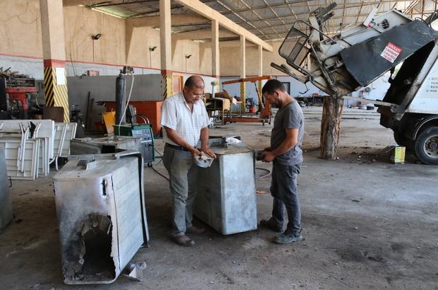 Kozan'da çöp konteynerlerine bakım ve onarım