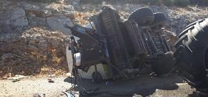 Devrilen traktör ortadan ikiye bölündü Burdur'da traktör kazası