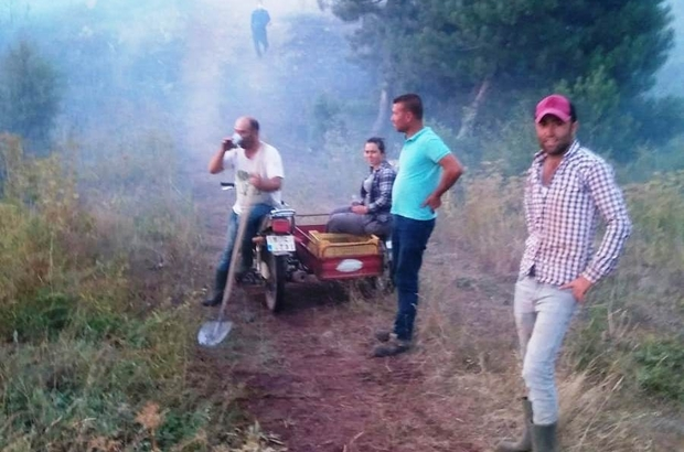 Orman yangınına ilk müdahale köylülerden Manisa'nın Alaşehir ilçesinde bir buçuk hektar ağaçlandırma alanı yandı Ekiplerin kısa sürede olay yerine gelmesiyle yangın bir saat içinde kontrol altına alındı