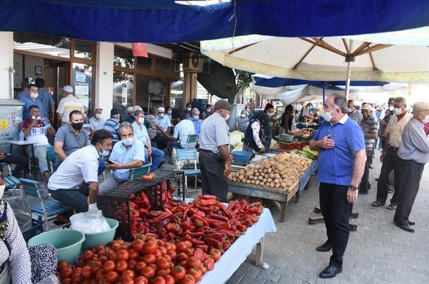 Başka Öndeş, semt pazarında vatandaşlara korona virüs uyarısında bulundu
