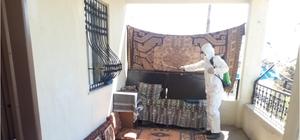 Beldedeki evler dezenfekte edildi