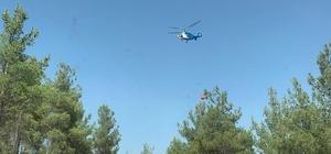Denizli'de 3 dekar alan yandı Orman yangını helikopter ile kısa sürede söndürüldü