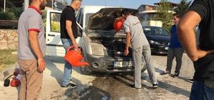 Yalova'da yanan araca pet şişeli müdahale