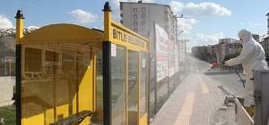 Bitlis otobüs durakları yıkanıp dezenfekte ediliyor