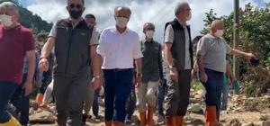 Tarım ve Orman Bakanı Bekir Pakdemirli selden zarar gören Espiye ilçesi Ericek köyünde incelemelerde bulundu