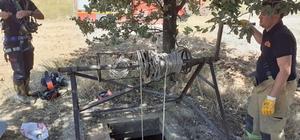 Kuyuya düşen oğlağı itfaiye ekipleri kurtardı