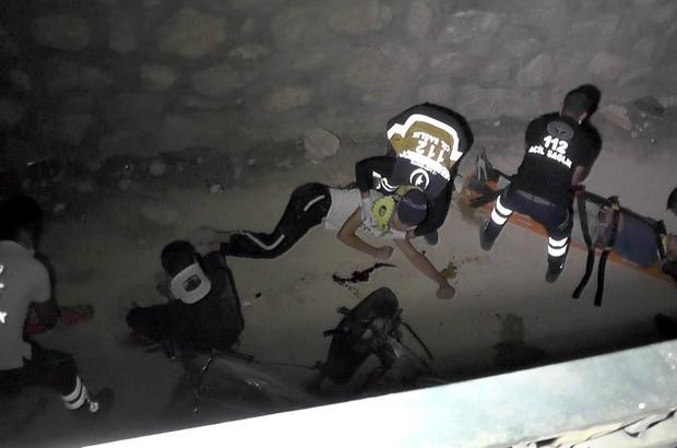 Motosiklet boş su kanalına düştü: 3 yaralı