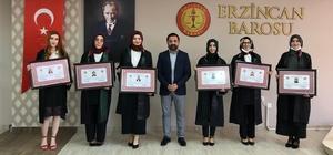Erzincan Barosu bünyesine 6 yeni avukat daha kattı