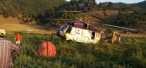 Osmaniye'deki yangına müdahale eden helikopter acil iniş yaptı Yangın söndürme helikopteri, kanat arızasından dolayı acil iniş yapmak zorunda kaldı