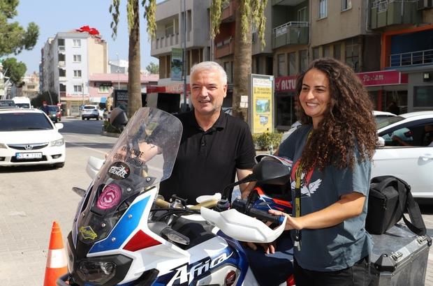 Motosikletiyle Türkiye turuna çıkan akademisyen Saruhanlı'da