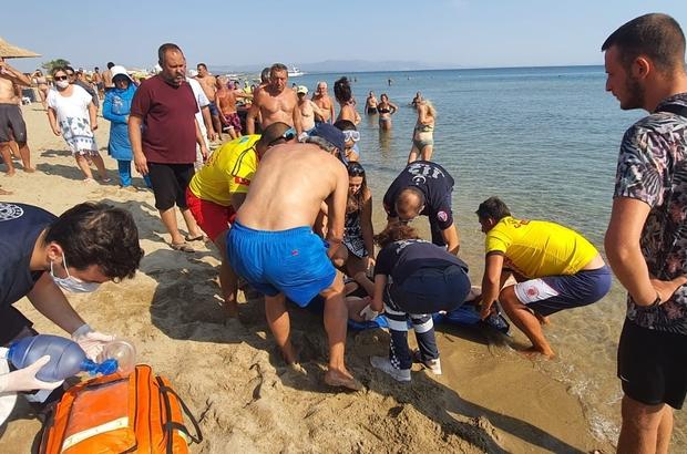Sarımsaklı Plajlarında boğulmak üzere olan kadını itfaiye kurtardı