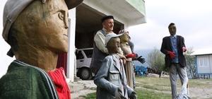 Cezaevinde öğrendiği oymacılıkla ağaçtan heykeller yapıyor Evin önündeki ahşap heykelleri gerçek insan sanarak selam veriyorlar