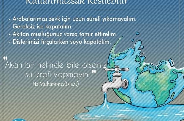 Denizli'de su israfını önlemek için kampanya başlatıldı Denizli'de su tasarrufu kampanyası başlatıldı