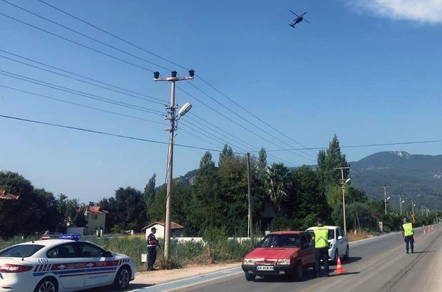 Jandarmadan helikopterli trafik denetimi