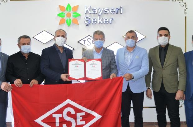 En güvenilir ürünler Kayseri Şeker'den Kayseri Şeker'e TSE 'Covid-19 en güvenli üretim belgesi