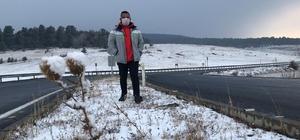 Sarıkamış'ta yoğun kar yağışı etrafı beyaza bürüdü