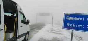 Eğribel Geçidi'nde kar yağışı ulaşımı etkilemeye başladı
