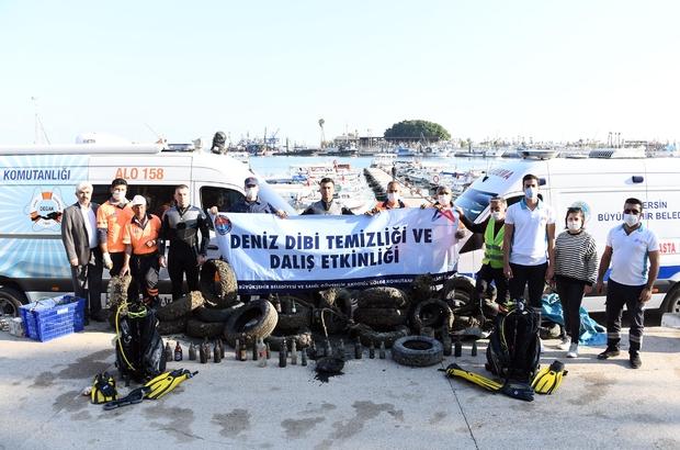 Denizden çıkanlar pes dedirtti Mersin'de gerçekleştirilen etkinlik kapsamında, 3 ile 7 metre arasındaki derinliğe dalan balık adamlar, deniz dibinden lastikten şişeye, brandadan bisiklete kadar birçok farklı materyal çıkardı