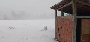 Hacıağaç Yaylası'na mevsimin ilk karı düştü