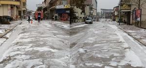 Cumayeri Belediyesi cadde ve sokakları köpüklü suyla yıkandı