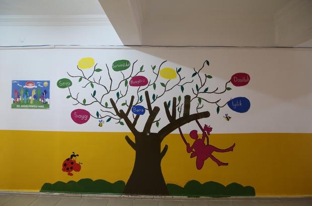 Öğretmeler okul duvarlarına renk kattı Sivas'ın Yıldızeli ilçesinde bir grup öğretmen görev yaptıkları okulu daha renkli bir görünüm kazandırmak için boş duvarlara resimler çizip boyadılar