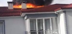 Baca yangını tüm çatıyı sardı