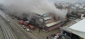Bursa'da mobilya fabrikasındaki yangın drone ile görüntülendi