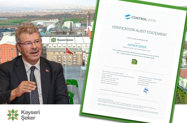 Kayseri Şeker sürdürülebilir tarımda en önemli belgeyi aldı Kayseri Şeker'e Gümüş FSA sertifikası