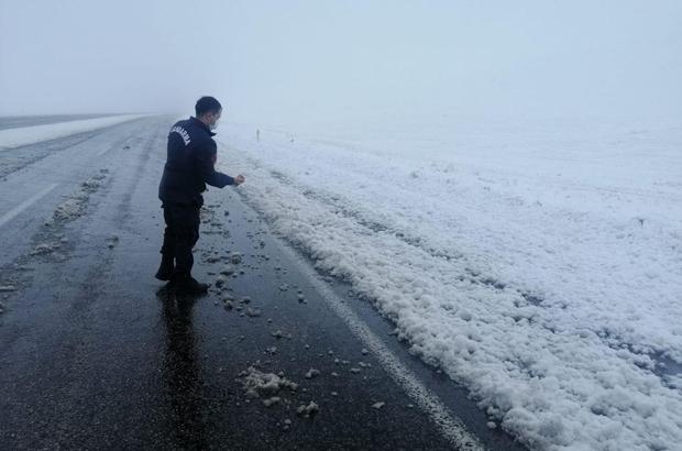 Jandarma ekipleri karla kaplı arazide kuşlara yem bıraktılar