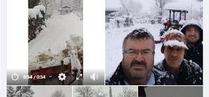 Karla kaplı yolları kendi imkanlarıyla açan muhtarın paylaşımı gülümsetti