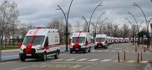 """Ordu'ya 13 yeni tam donanımlı ambulans Ordu valisi Tuncay Sonel: """"Ordu'da ambulans sayısı 81'e yükseldi"""""""