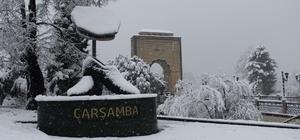 Çarşamba'dan kar manzaraları