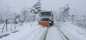 Terme'de yoğun kar mesaisi