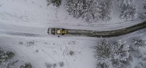 Adana'nın kuzeyinde karla mücadele