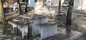 Buzla kaplanan parktan eşsiz görüntüler