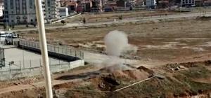 35 yıl sonra polise verdiği bilgi sayesinde toprağa gümülü top mermisi bulundu Malatya'da boş arazide gömülü top mermisi fünye ile patlatıldı