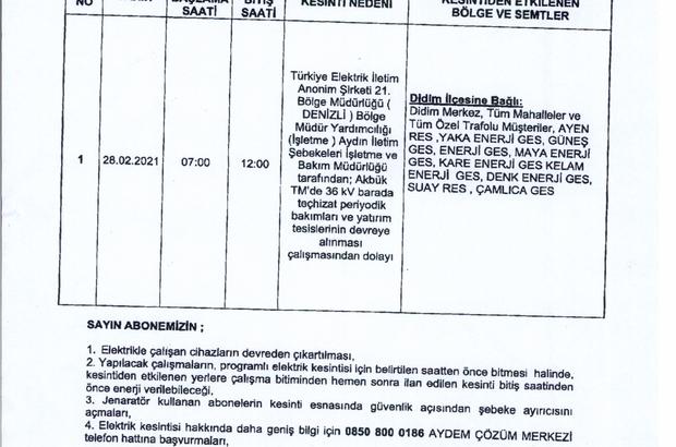 Aydın'da 5 saat elektrik kesintisi yaşanacak